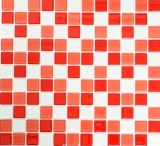 Mosaik Fliese Transluzent weiß rot Glasmosaik Crystal weiß rot MOS62-0904