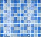 Mosaikfliese Transluzent hellblau Glasmosaik Crystal hellblau BAD WC Küche WAND MOS62-0404