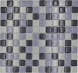 Mosaikfliese Transluzent grau Glasmosaik Crystal grau BAD WC Küche WAND MOS72-0204