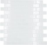 Mosaikfliese Transluzent weiß Brick Glasmosaik Crystal weiß BAD WC Küche WAND MOS66-0102