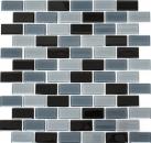 Mosaikfliese Transluzent schwarz Brick Glasmosaik Crystal schwarz MOS66-0208