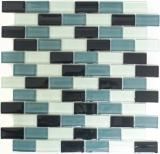 Mosaikfliese Transluzent grau Brick Glasmosaik Crystal grau MOS76-0204