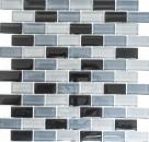 Mosaikfliese Transluzent schwarz Brick Glasmosaik Crystal schwarz MOS76-0208_f | 10 Mosaikmatten