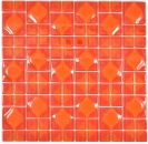 Mosaikfliese Transluzent rot 3D rot Red Dot Design BAD WC Küche WAND MOS68-0925