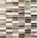 Mosaik Fliese Transluzent Komposit Aluminium beige braun silber schwarz Rechteck Glasmosaik Crystal Artificial Stein Alu EP beige braun MOS87-SM48
