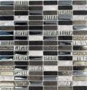 Mosaik Fliese Transluzent Komposit Edelstahl silber grau schwarz Rechteck Glasmosaik Crystal Artificial Stein Stahl EP schwarz MOS87-SM58