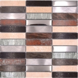 Mosaikfliese Transluzent Komposit Aluminium beige braun silber schwarz Rechteck Glasmosaik Crystal Artificial Stein Alu EP beige braun MOS87-48X