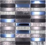 Mosaikfliese Transluzent Komposit Edelstahl silber grau schwarz Rechteck Glasmosaik Crystal Artificial Stein Stahl EP schwarz MOS87-58X