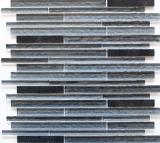Mosaik Fliese Transluzent Komposit schwarz Multistick Glasmosaik Crystal Artificial schwarz MOS86-MS89
