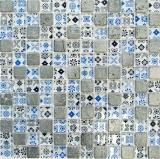 Mosaikfliese Transluzent blau schwarz Glasmosaik Crystal Resin Optik blau schwarz silber MOS83-CB07
