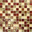 Mosaik Fliese Transluzent beige rot Glasmosaik Crystal Resin Optik beige rot MOS83-CMCB25