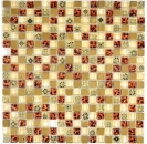 Mosaik Fliese Transluzent beige Glasmosaik Crystal Resin Optik beige rot MOS92-1212
