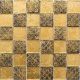 Mosaikfliese Transluzent gold Glasmosaik Crystal Resin Optik gold MOS88-8OP7