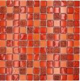 Mosaikfliese Transluzent rot Glasmosaik Crystal Resin rot Struktur MOS83-CB30