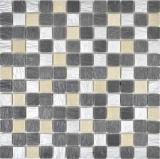 Mosaikfliese Transluzent grau schwarz Glasmosaik Crystal Resin grau schwarz silber MOS83-0226