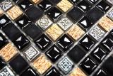 Mosaikfliese Resin schwarz kupfer Resin Stein schwarz kupfer MOS92-0301_m