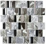 Mosaikfliese Transluzent grau schwarz Multiformat Glasmosaik Crystal Stein EP grau schwarz MOS88-0210