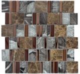 Mosaikfliese Transluzent beige braun Multiformat Glasmosaik Crystal Stein EP beige braun MOS88-1220