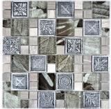 Mosaik Fliese Transluzent silber Kombination Glasmosaik Crystal Resin silber Ornament MOS88-0280