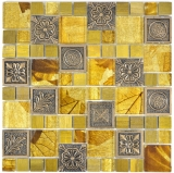 Mosaikfliese Transluzent gold Kombination Glasmosaik Crystal Resin gold Ornament MOS88-0790