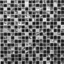 Mosaikfliese Transluzent Edelstahl schwarz Glasmosaik Crystal Stahl schwarz Glas MOS92-0304