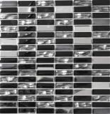 Mosaikfliese Transluzent Edelstahl schwarz Stäbchen Glasmosaik Crystal Stahl schwarz Glas MOS87-0301