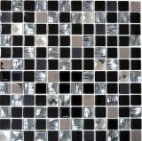 Mosaikfliese Transluzent Edelstahl schwarz Glasmosaik Crystal Stahl schwarz Glas MOS63-CM-426