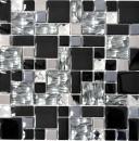 Mosaikfliese Transluzent Edelstahl schwarz Kombination Glasmosaik Crystal Stahl schwarz Glas MOS88-03689
