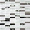 Mosaikfliese Transluzent Edelstahl weiß Stäbchen Glasmosaik Crystal Stahl weiß Glas MOS87-0102