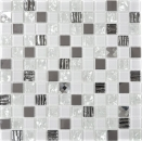 Mosaikfliese Transluzent Edelstahl weiß Glasmosaik Crystal Stahl weiß Glas MOS63-CM-424