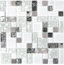 Mosaikfliese Transluzent Edelstahl weiß Kombination Glasmosaik Crystal Stahl weiß Glas MOS88-01699