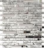 Mosaik Fliese Transluzent Edelstahl silber Verbund Glasmosaik Crystal Stahl Silber Glas MOS86-0106