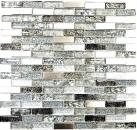 Mosaik Fliese Transluzent Edelstahl silber grau schwarz Verbund Glasmosaik Crystal Stahl silber grau schwarz MOS87-IL017