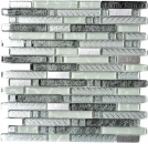 Mosaik Fliese Transluzent Edelstahl klar silber grau Verbund Glasmosaik Crystal Stahl klar silber grau MOS87-MV698