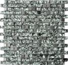 Mosaikfliese Transluzent Edelstahl grüngrau Verbund Glasmosaik Crystal Stahl steingrüngrau MOS87-MV728