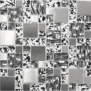 Mosaik Fliese Transluzent Edelstahl schwarz silber Kombination Glasmosaik Crystal Stahl schwarz struktur MOS88-0203