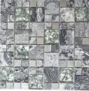 Mosaikfliese Transluzent Edelstahl grau Kombination Glasmosaik Crystal Stein Stahl grau MOS88-0204