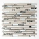 Mosaik Fliese Transluzent Edelstahl weiß Holz Verbund Glasmosaik Crystal Stein Stahl wood white MOS86-0108