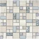 Mosaikfliese Transluzent Edelstahl grauweiß Kombination Glasmosaik Crystal Stein Stahl weißes Holz MOS88-0202