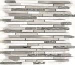 Mosaik Fliese Transluzent Edelstahl weiß Holz Verbund Glasmosaik Crystal Stein Stahl wood white MOS86-SV85