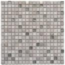 Mosaikfliese Transluzent Edelstahl grauweiß Glasmosaik Crystal Stein Stahl wood white MOS92-2002