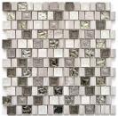 Mosaik Fliese Transluzent Resin Keramik Feinzeug grauweiß Multiformat Glasmosaik Crystal Stein Resin Keramik wood white MOS82-2002