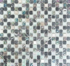 Mosaikfliese Transluzent Edelstahl grau Glasmosaik Crystal Stein Stahl grau MOS92-0206