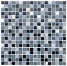 Mosaikfliese Transluzent Edelstahl schwarz Glasmosaik Crystal Stein Stahl schwarz Glas MOS92-0203