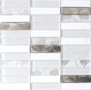 Mosaikfliese Transluzent Edelstahl weiß Rechteck Glasmosaik Crystal Stein Stahl weiß MOS87-11X
