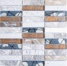 Mosaikfliese Transluzent Edelstahl grau Rechteck Glasmosaik Crystal Stein Stahl Resin grau MOS87-24X