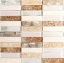 Mosaikfliese Transluzent Edelstahl beige Rechteck Glasmosaik Crystal Stein Stahl beige MOS87-52X