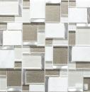 Mosaik Fliese Transluzent Aluminium wie hellbeige Kombination Glasmosaik Crystal Stein Alu weiß und beige MOS49-FK01