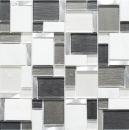 Mosaik Fliese Transluzent Aluminium weiß grau Kombination Glasmosaik Crystal Stein Alu weiß und grau MOS49-FK02
