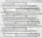 Mosaik Fliese Transluzent Aluminium weiß silber schwarz Verbund Glasmosaik Crystal Stein Alu weiß silber MOS49-GV64